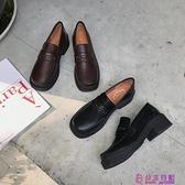 小皮鞋女復古英倫風春季新款韓版加絨黑色樂福鞋粗跟中跟單鞋【公主日記】