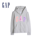 Gap女童Logo徽標棉質毛圈布內裡連帽衫539429-石楠灰色