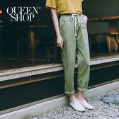 Queen Shop【04080108】綁帶設計水洗休閒長褲 兩色售 S/M*預購*