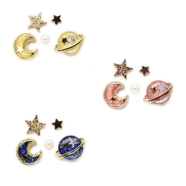 耳環 宇宙星球月亮系列 5入一組 耳環