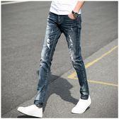 牛仔褲   黑色破洞牛仔褲男士修身小腳褲青少年韓版彈力乞丐男褲