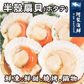 【阿家海鮮】生凍半殼扇貝 (500g±10%/包-6顆入/包)