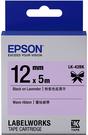 LK-42BK EPSON 蕾絲緞帶系列粉紫底黑字標籤帶(寬度12mm) C53S654459