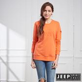 【JEEP】女裝 品牌立體浮雕LOGO長袖TEE (橘)