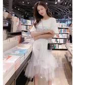 韓版超仙閨蜜洋裝女2020夏裝新款網紗拼接學生t恤裙子女夏長裙 滿天星