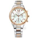 SEIKO 精工 / V175-0EW0G.SSC824J1 / 限量款 LUKIA 太陽能 施華洛世奇 不鏽鋼手錶 銀白x鍍玫瑰金 36mm