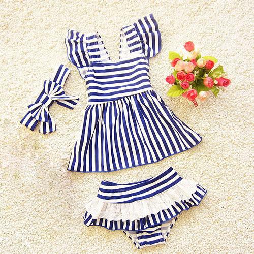 童泳裝 女童條紋兩件式泳衣(含髮帶) S7D008 AIB小舖
