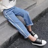 女童牛仔褲子春秋裝2018新款兒童裝女寶寶秋季長褲洋氣九分闊腿褲