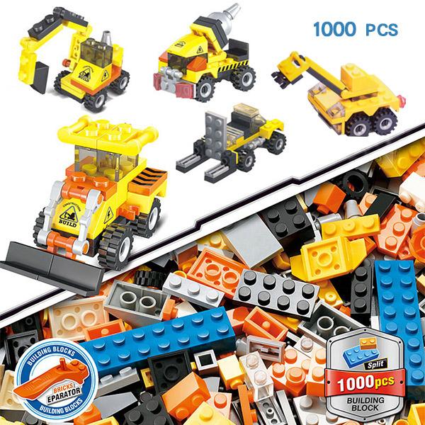 1000片城市工程隊彩色積木 玩具 交通造型積木