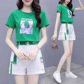 韓版 兩件套 短褲套裝女S-2XL時尚洋氣夏季氣質減齡小個子顯高短袖休閑兩件套潮352 H362 韓依紡