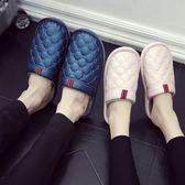 買一送一棉拖鞋女冬季情侶室內家居家用防滑厚底PU皮拖鞋防水男士 露露日記
