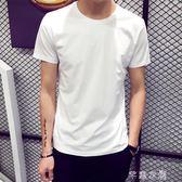 夏季男士短袖T恤圓領純色體恤打底衫韓版半袖上衣夏裝男裝黑白潮      芊惠衣屋