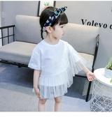 女童夏裝純棉短袖T恤時髦新品洋氣兒童半袖1-3寶寶披肩式上衣 鉅惠85折