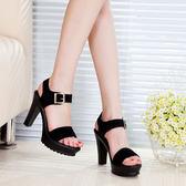 夏季韓版磨砂真皮鞋 厚底粗跟防水臺超高跟涼鞋《小師妹》sm1075