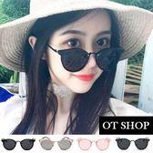 OT SHOP太陽眼鏡‧時尚造型墨鏡‧亮黑全黑/黑白斑點/粉框粉反光/透明框黑反光‧現貨四色‧S25