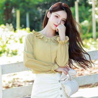 長袖襯衫韓版S-2XL9531春季韓國甜美文藝范百褶領花邊襯衫女設計感小眾長袖上衣T614依佳衣