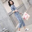 連體褲 2021新款女夏牛仔連體套裝褲高腰顯瘦百搭帥氣連衣工裝休閒闊腿潮