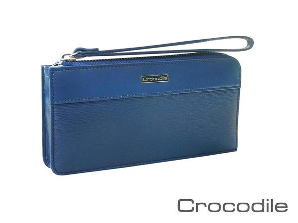 【全新品公司貨】Crocodile 鱷魚 牛皮 附手提帶可放手機手拿包 藍色【寧寧小舖/台中30年老店】428-1