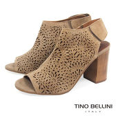 Tino Bellini義大利精緻花火鏤空魚口高跟涼鞋_ 駝 A73016 歐洲進口款