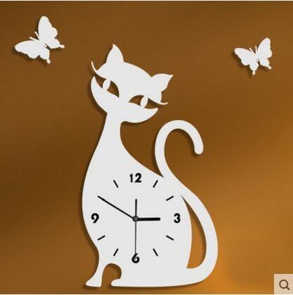 雅刻麗個性創意客廳時尚石英鐘藝術掛鐘靜音時鐘可愛小猫咪咪鐘錶(12英吋)