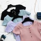 夏裝復古港味方領上衣修身顯瘦純色體恤閨蜜裝短袖T恤女潮 美芭