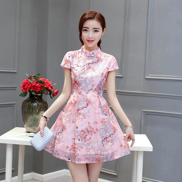 VK精品服飾 復古風改良旗袍式收腰短袖洋裝