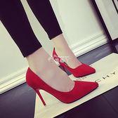 韓版10cm百搭女鞋細跟高跟鞋尖頭中跟絨面婚鞋單鞋女 俏腳丫