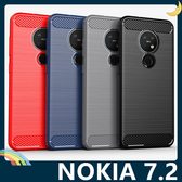 NOKIA 7.2 戰神碳纖保護套 軟殼 金屬髮絲紋 軟硬組合 防摔全包款 矽膠套 手機套 手機殼 諾基亞