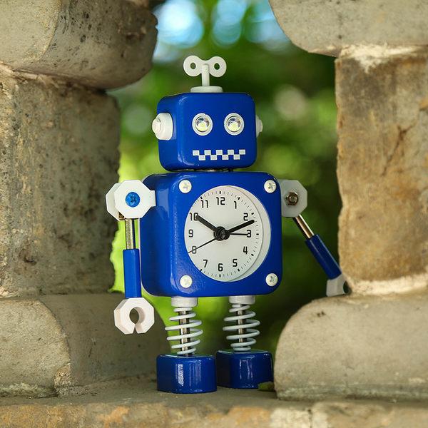 創意 金屬機器人鬧鐘 家居飾品 學生兒童 夜燈鬧鐘  生日禮物佳品【時尚家居館】
