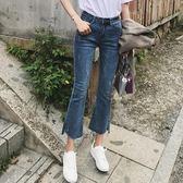 韓版高腰修身顯瘦微喇高彈力牛仔褲女九分褲 莫妮卡小屋