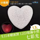 安全臘燭 晚會派對 生日求婚 水晶七彩12cm愛心型-七彩小夜燈  (T-363-18-01)