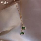 巴洛克祖母綠水晶項鏈女網紅ins潮簡約脖子飾品吊墜高級感鎖骨鏈