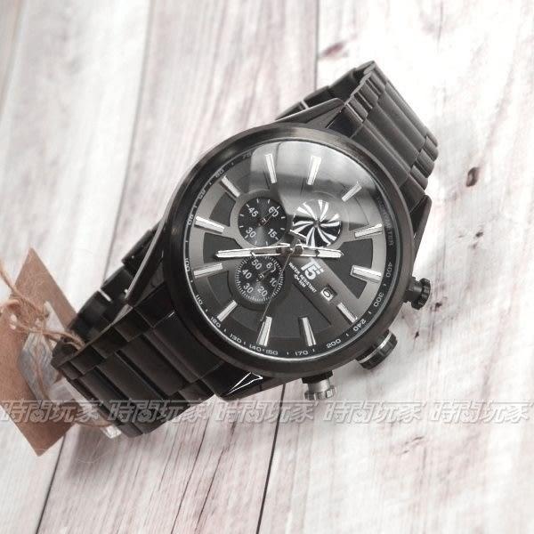 T5 sports time 大錶徑真三眼計時男錶 帥氣型男錶 防水手錶 日期視窗 IP黑 H3627G黑