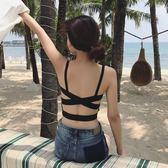夏季正韓露肩防走光打底性感抹胸背后交叉美背裹胸吊帶上衣帶胸墊三角衣櫥