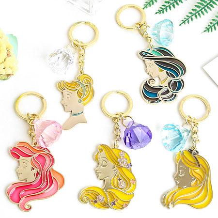 正版 日貨 迪士尼公主側臉鑰匙圈 包包 掛飾 鑰匙圈 吊飾 長髮公主 灰姑娘 小美人魚 愛麗絲