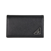 PRADA SAFFIANO 三角LOGO全皮革名片夾零錢包(黑色)