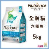Nutrience紐崔斯『 無穀養生貓 (六種魚)』5kg(11lb)【搭嘴購】