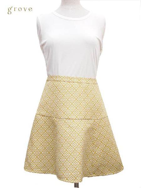 grove 刺繡素色傘狀短裙
