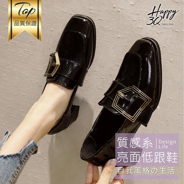 方頭鞋子女百搭方頭高跟小皮鞋學生粗跟仿真皮面鞋復古質感-黑/棕35-39【AAA5676】預購