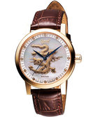 Ogival 愛其華 飛龍限量真鑽機械腕錶-珍珠貝/咖啡 388.65AGR皮