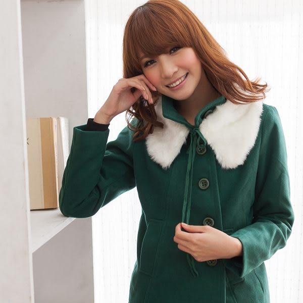 ☆NO.202 SHOP【A3151】綠~全尺碼~甜美女孩最愛多元穿搭~毛領可拆俐落真口袋毛外套~大尺碼