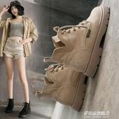 短靴/馬丁靴-秋季馬丁靴女英倫風學生厚底透氣機車靴子工裝黑色英倫風短靴薄款  多麗絲