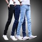 牛仔褲 春季彈力修身牛仔褲男士青年小腳褲韓版潮流休閒夏季薄款男裝褲子