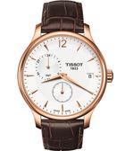 TISSOT 天梭 Tradition GMT 二地時區經典手錶-白/咖啡 T0636393603700