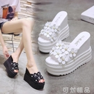 涼拖鞋女新款外穿百搭高跟鬆糕厚底楔形花朵拖鞋夏內增高厚底涼拖