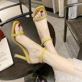 涼鞋2020新款女夏季百搭透明一字帶羅馬鞋時尚仙女配裙子的高跟鞋 DR35008【美鞋公社】