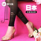 《PIEDO》日本製小腿波紋透膚造型彈性絲襪褲襪 黑色 深灰色