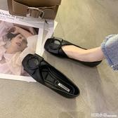豆豆鞋女夏新款淺口方頭單鞋軟底百搭瓢鞋黑色開車上班平底鞋 中秋節全館免運