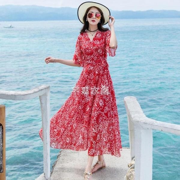 沙灘裙海邊度假巴厘島海灘裙女夏雪紡大擺碎花連衣裙波西米亞長裙 快速出貨