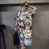 韓國春夏天女裝寬鬆大碼原宿bf風印花超長款短袖T恤連身裙女過膝 韓國時尚週